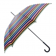 Benetton listras guarda-chuva preto longo automático