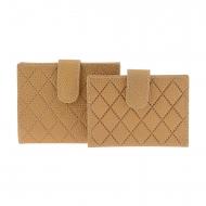 Carteira de couro com costura de diamante e porta-cartões