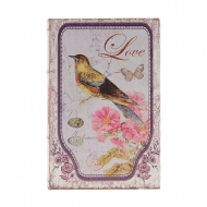 Cofre estilo livro com pássaros e flores cor de rosa