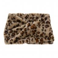 Pescoço da senhora com estampa de leopardo marrom