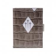 Carteira de proteção RFID em couro jacaré cinza Exentri