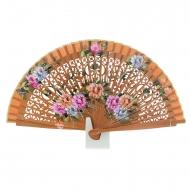 Ventilador de couro com design de flores em madeira a céu aberto
