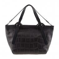 Maxi bag preto estilo cesto de couro gravado