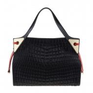 Maxi bag preta com duas alças em couro e pele gravados