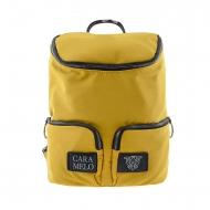 Mochila de lona amarela com alça e dois bolsos