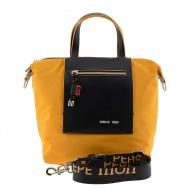 Lona amarela e bolsa sintética preta