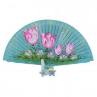 Ventilador azul pintado com flores rosa