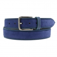 Cinto de couro Bellido com costura dupla azul