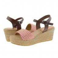 Sandálias de cunha de couro marrom e tecido rosa Porronet