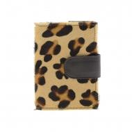 Carteira carteira de couro leopardo marrom