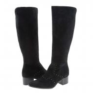 Botas de camurça preta com mini tachas