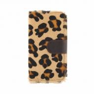 Carteira de zíper de pele de leopardo