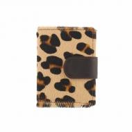 Carteira e bolsa de couro de leopardo