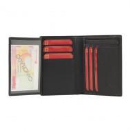 Carteira 9 cartões de couro com listras gravadas