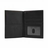 Grande carteira de passaporte de couro preto