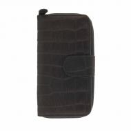 Bolsa carteira de couro com zíper gravado