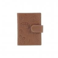 Titular de cartão com broche de caxemira de couro gravado