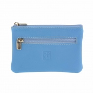 Bolsa de couro azul 3 zíperes