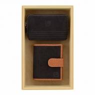 Carteira e bolsa de couro marrom