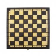 xadrez de madeira em castanho e beige