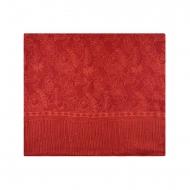 Foulard vermelho impresso com flores laranja