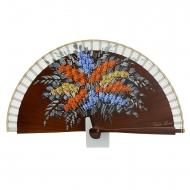 Fan design mini flores de couro de madeira