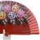 Fan design madeira vermelha pintada flores 94385
