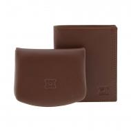 Conjunto carteira e bolsa de couro