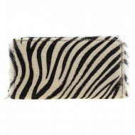 Carteira de zebra pele com zíper